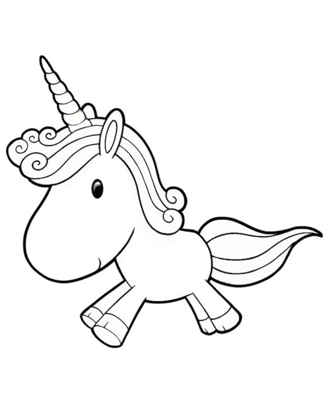 1040x1344 Cartoon Unicorn Coloring Page Coloring Book