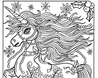 340x270 Unicorn Christmas Coloring Page Adult Color Book Art Fantasy