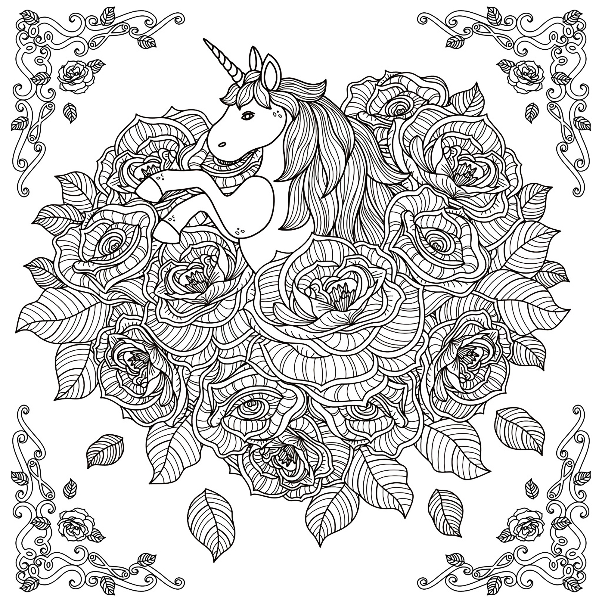 2000x2000 Unicorn Mandala