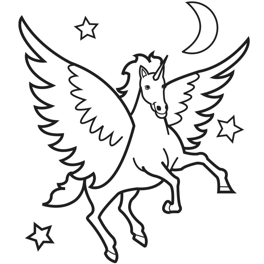 842x842 Horse Coloring Pages Unicorn Coloring Pages With Moon And Stars