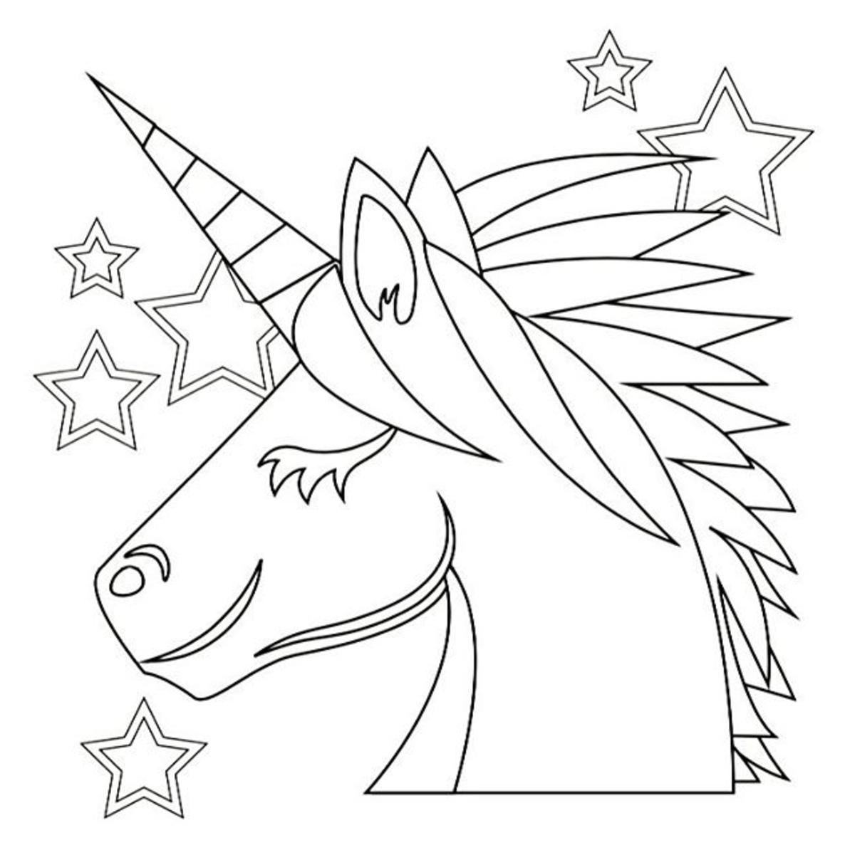 1186x1194 Unicorn Emoji Coloring Page