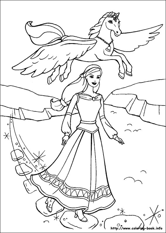 567x794 Barbie And The Magic Of Pegasus Coloring Picture