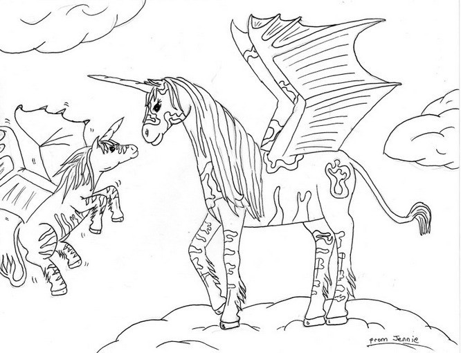 666x510 Coloring Pages Alluring Pegasus Coloring Pages Of Unicorns