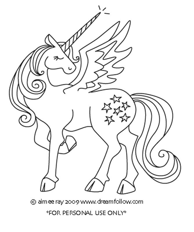 Unicorn With Wings Coloring Pages