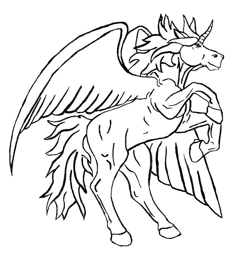 800x864 Unicorn Pegasus Coloring Pages Tattoo Page