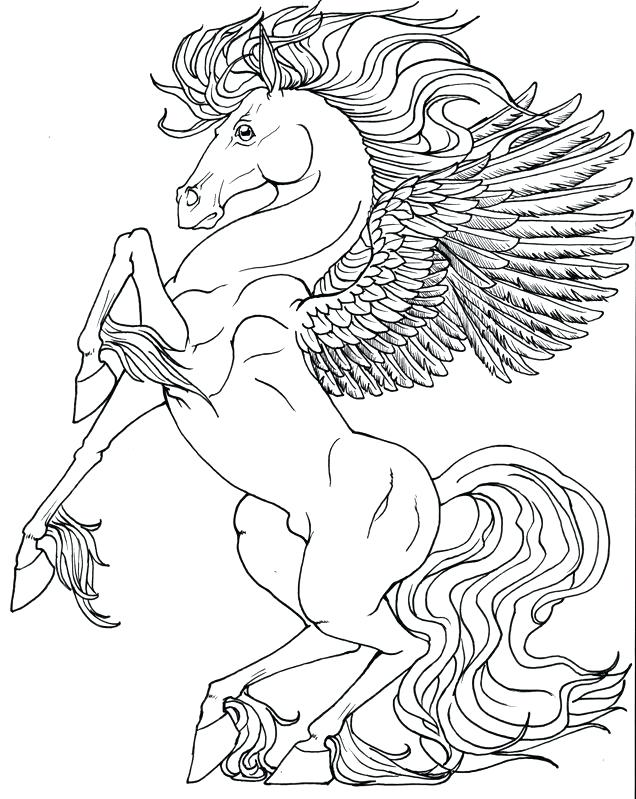 636x799 Unicorn With Wings Coloring Pages Coloring Pages Marvellous