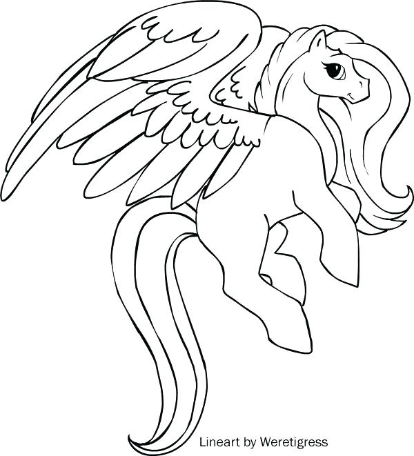 600x661 Unicorn With Wings Coloring Pages Winged Within Idea