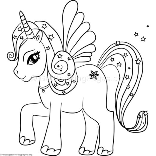 520x520 Fairy And Unicorn Coloring Pages