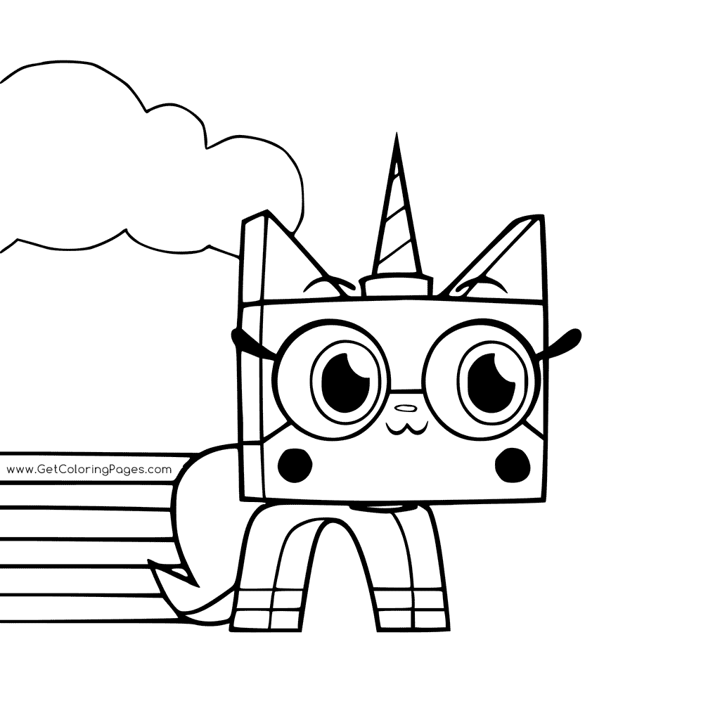 1024x1024 Unikitty With Rainbow Coloring Page