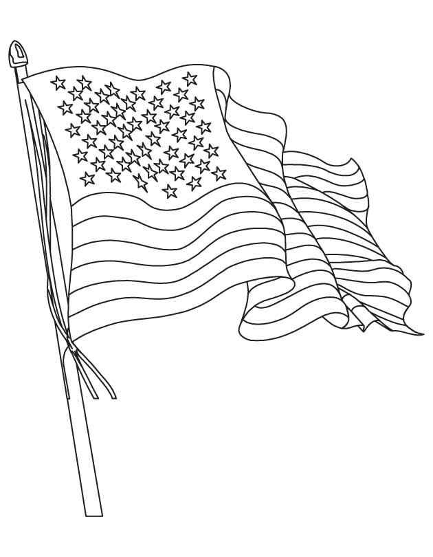 630x810 Waving American Flag Coloring Page