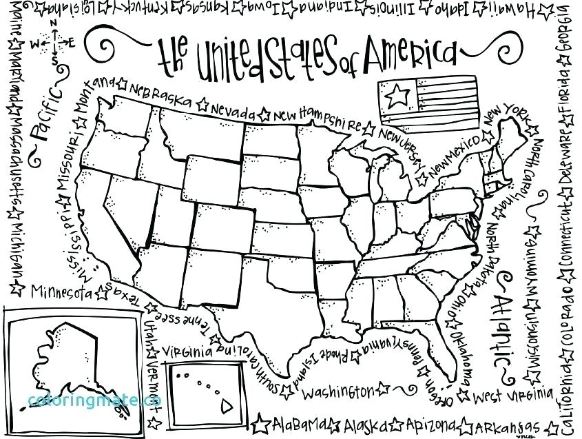 845x637 Map North America Coloring Page Kids Coloring United States