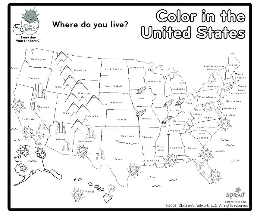 863x712 United States Coloring Page United States Coloring Pages Us Map