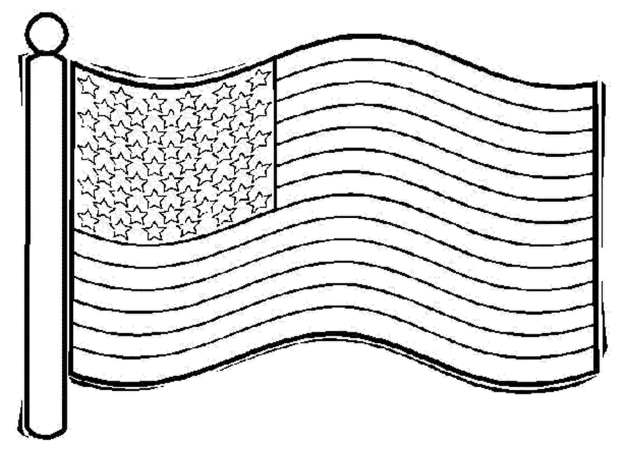 2000x1444 American Flag Coloring Page