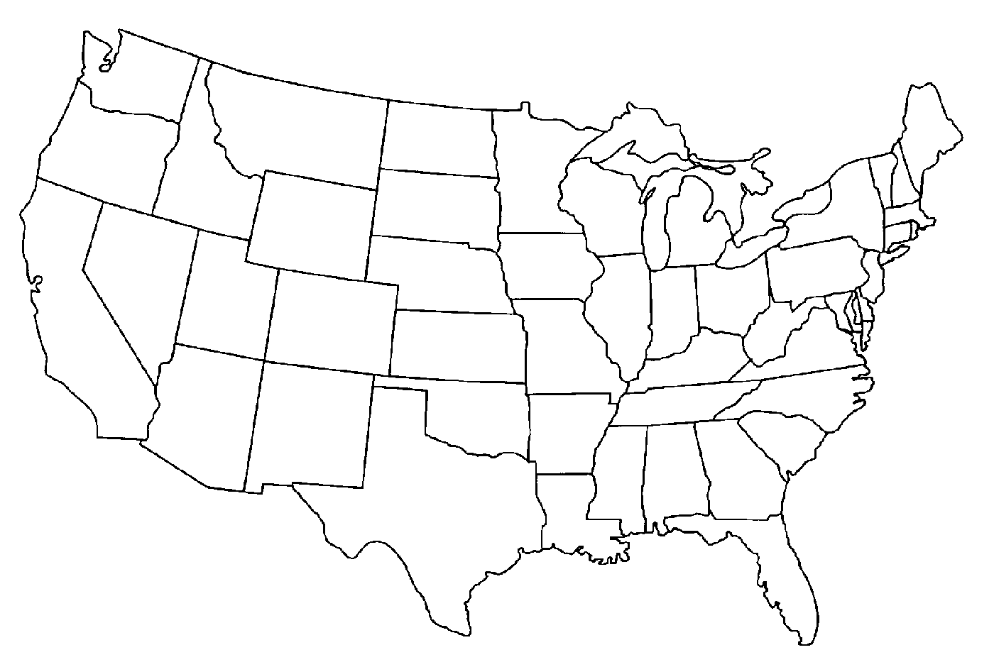 1400x940 Destiny Map Of Usa Coloring Page Blank Us To C