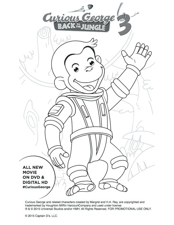 600x776 Curious George Coloring Pages Free Astronaut Curious Printable
