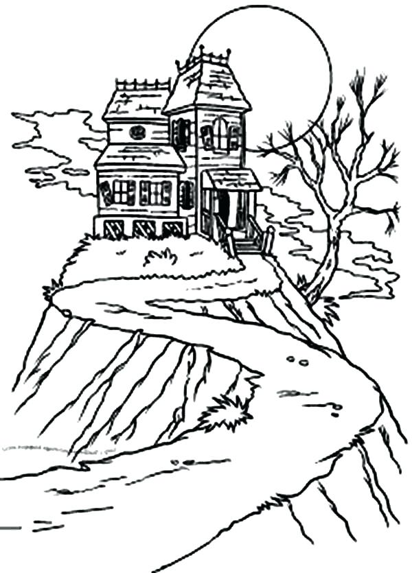 600x835 Gingerbread House Coloring Pages Pdf Happy Haunted Sun Up