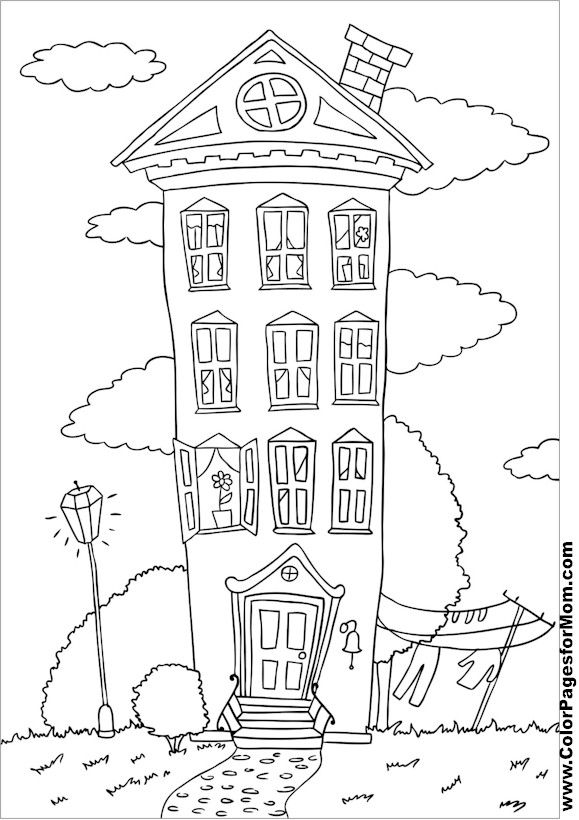 579x820 House Coloring Page Free Sample Join Fb Grown Up Coloring