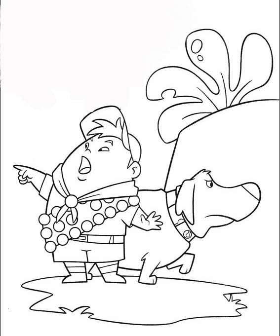 567x681 Up Coloring Pages Russell And The Dog Coloring Page Up House