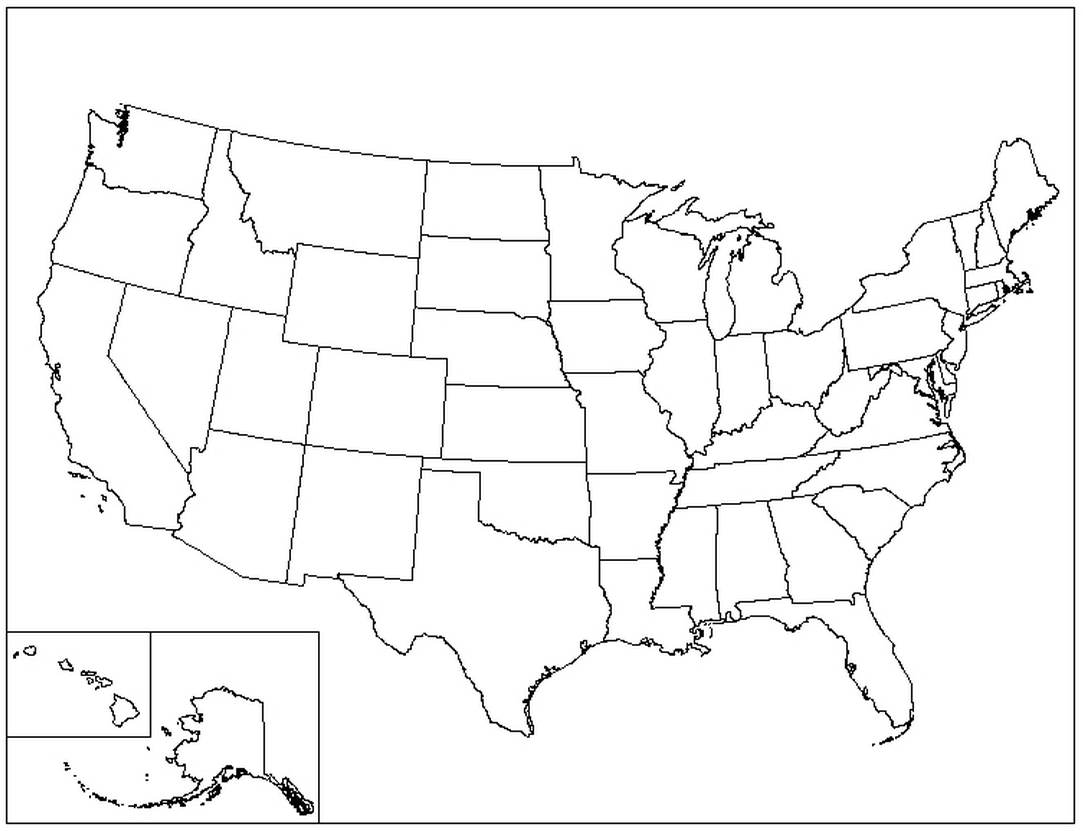 1083x831 Blank Us Map Coloring Page United States Thempfa Org Within