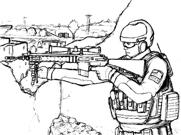 600x450 Military Sniper Standing On His Spot Coloring Pages Color Luna