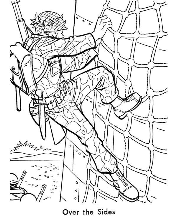 600x734 Soldier Is Training Hard In Armed Forces Day Coloring Page Pages