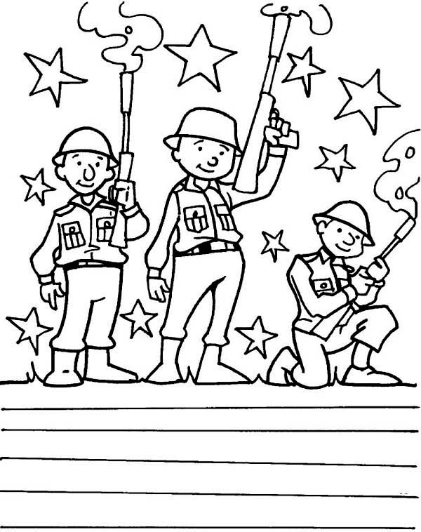 600x758 Soldiers Coloring Page Free Download