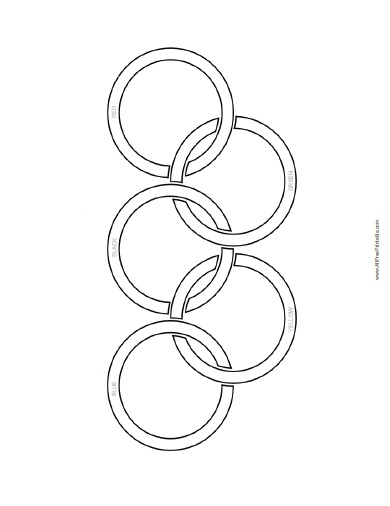 390x506 Olympic Flag Coloring Page
