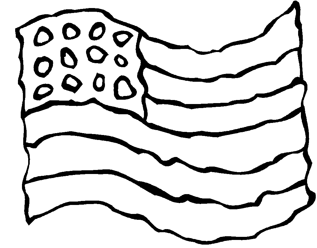 1024x801 Waving Easy American Flag Coloring Page For Kindergarten