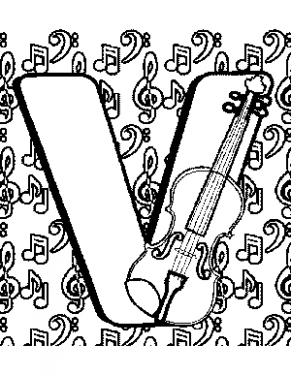 291x376 Letter V Coloring Page