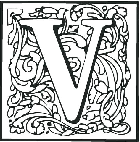 473x480 Letter V Coloring Page Letter V With Ornament Coloring Page Free