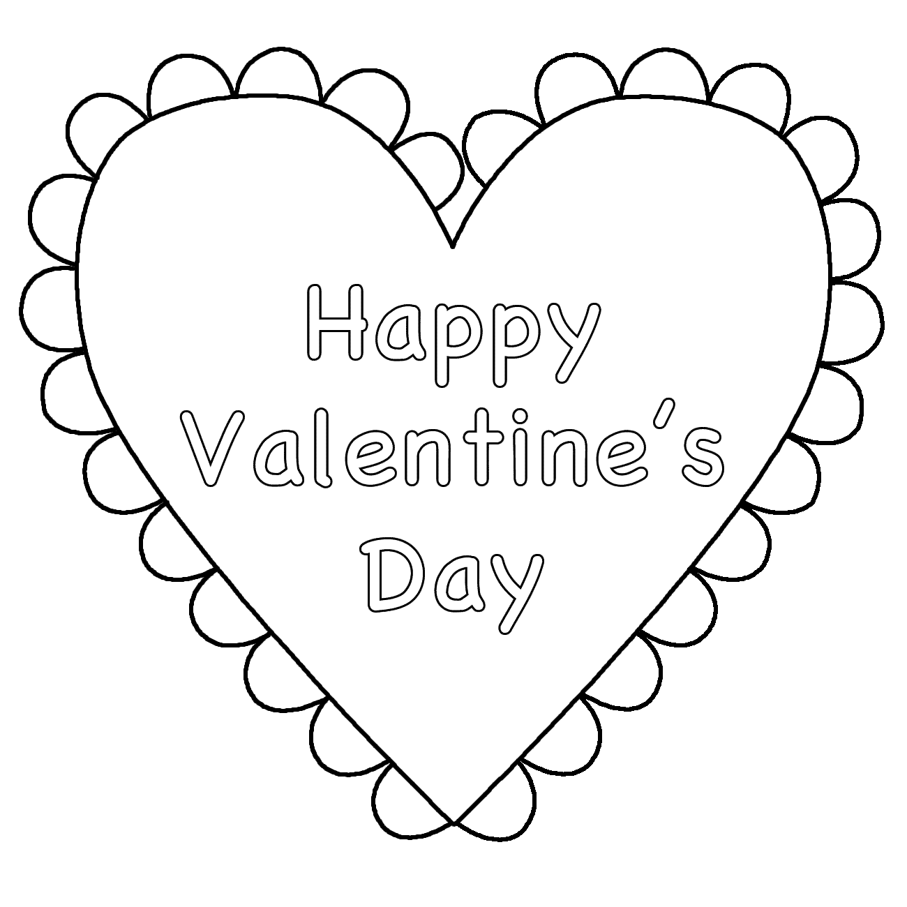 1300x1300 Happy Valentines Day Free Coloring Page Adults, Love, Valentines