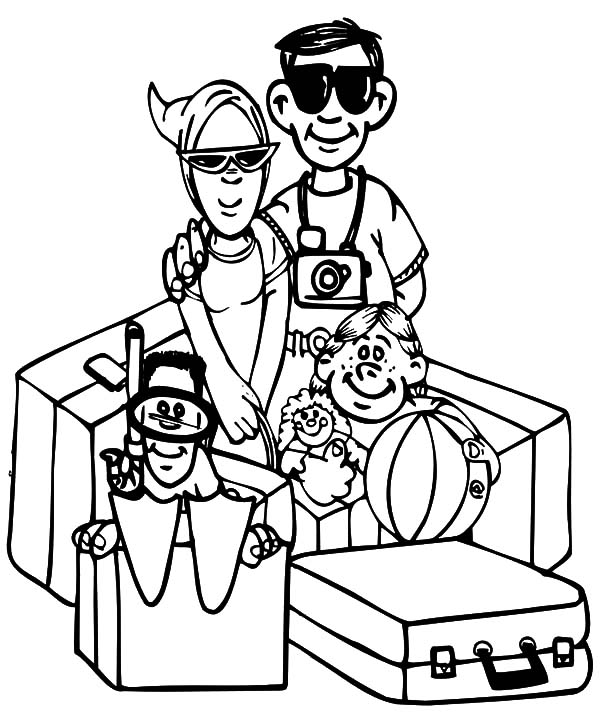600x723 Joint Family On Vacation Coloring Pages Batch Coloring