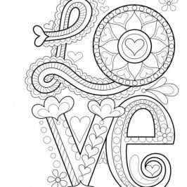 Valentine Adult Coloring Pages