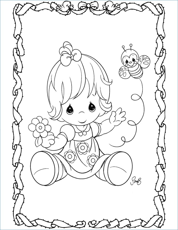 736x952 Cute Little Girl And Valentine Heart Coloring Page