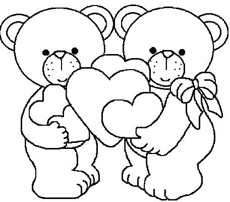 456x400 Valentine Bear Coloring Pages