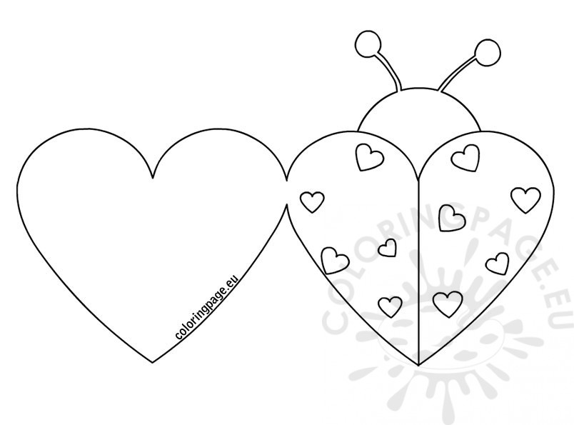 804x595 Ladybug Valentine Cards Coloring Page