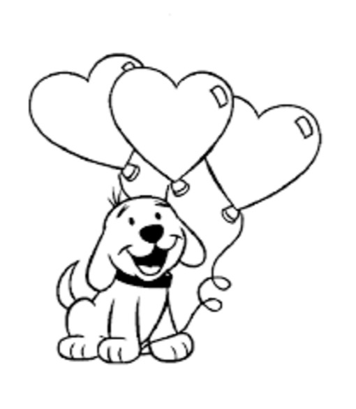 510x585 Valentine Day Dog Coloring Page Coloring Book
