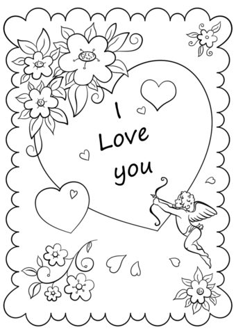 340x480 Colorable Valentines Day Cards Valentines Day Card I Love You