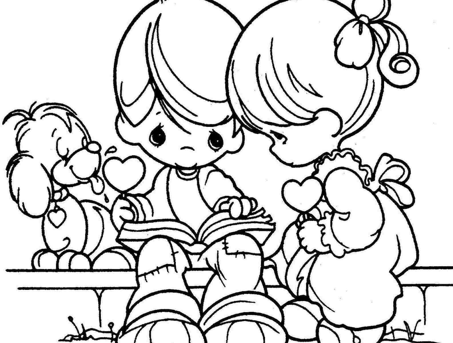 1585x1200 Good Valentine Day Coloring Pages In Picture Cupid Free Printable
