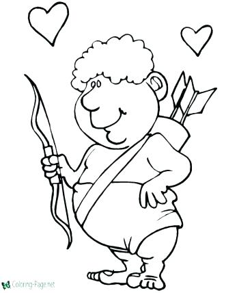 350x428 Cupid Coloring Page Cupid Coloring Sheets Valentines Coloring