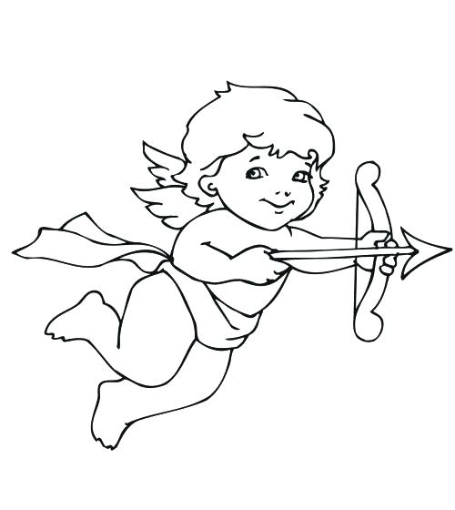 500x560 Cupid Coloring Page Printable Valentines Day Coloring Page