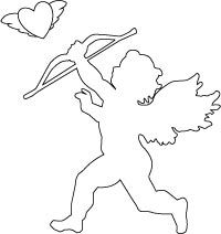 200x212 Best Photos Of Valentine Cupid Silhouette Coloring Pages