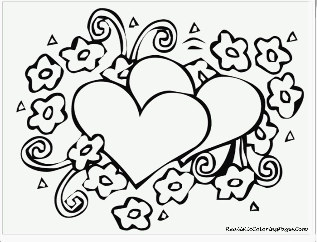 1047x800 Coloring Roses Pictures Free Printable Heart Pages For Girls Kids
