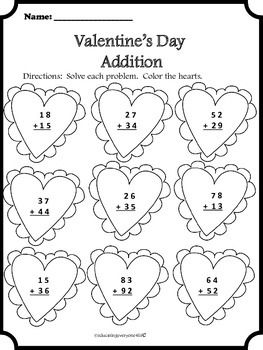 263x350 First Grade Valentine Math Worksheets