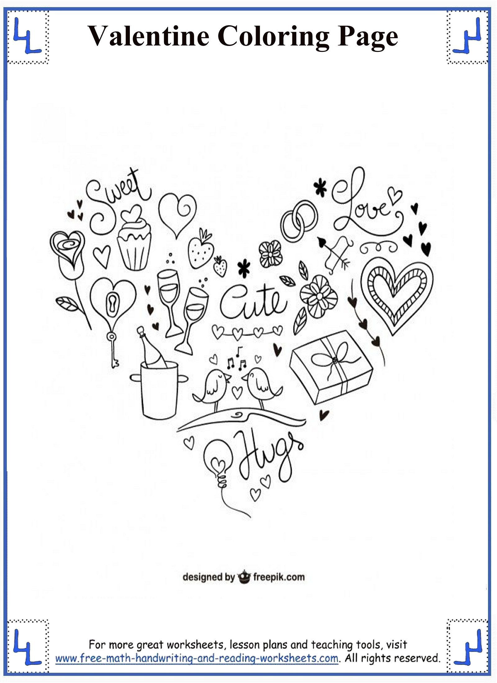 1600x2200 Valentines Day Coloring Pages Heart And Valentine S Objects
