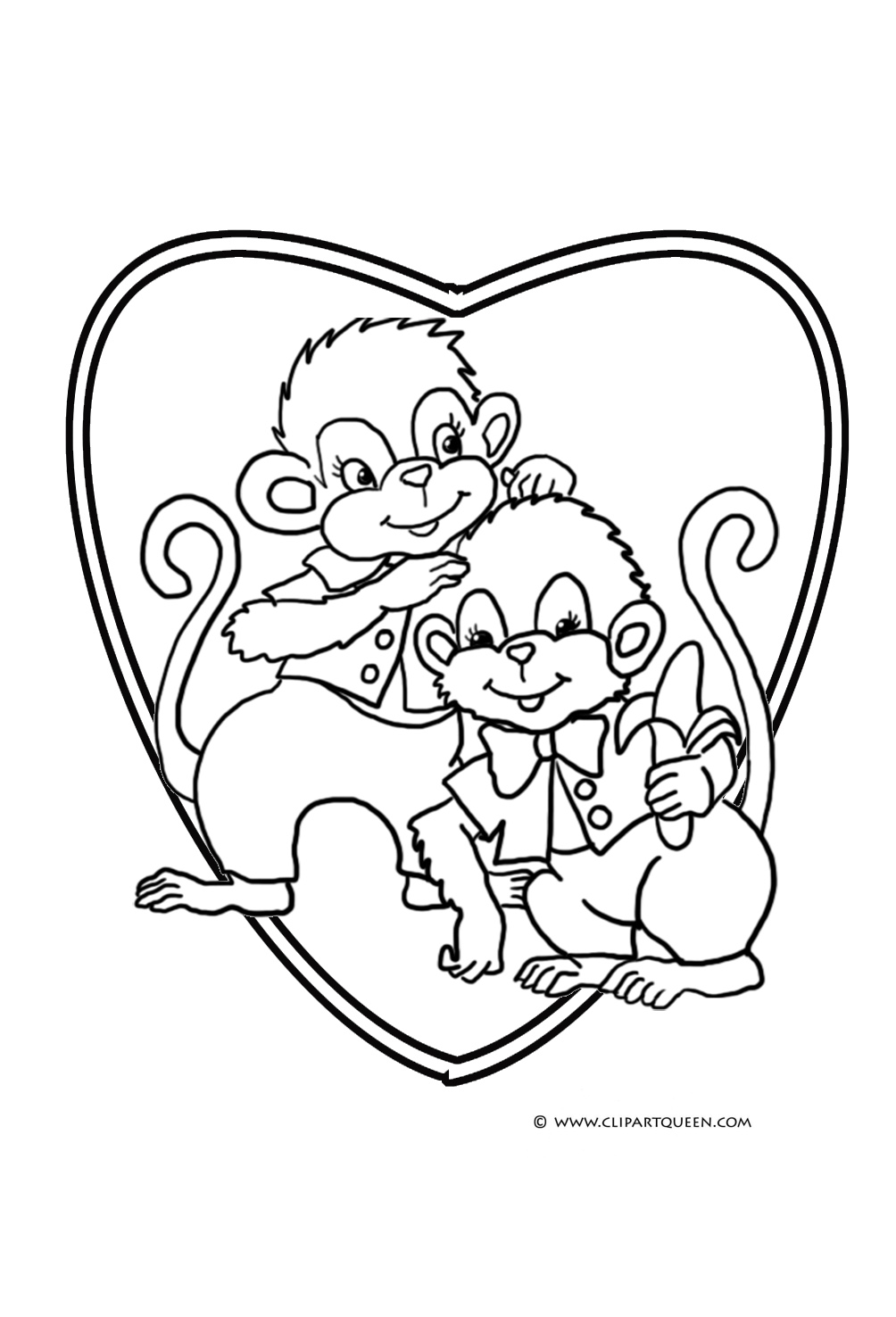 Valentine Monkey Coloring Pages