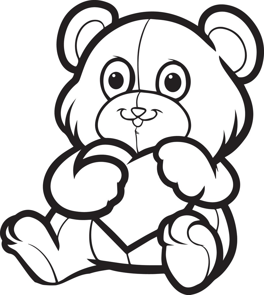 919x1024 Free, Printable Valentine's Day Teddy Bear Coloring Page For Kids