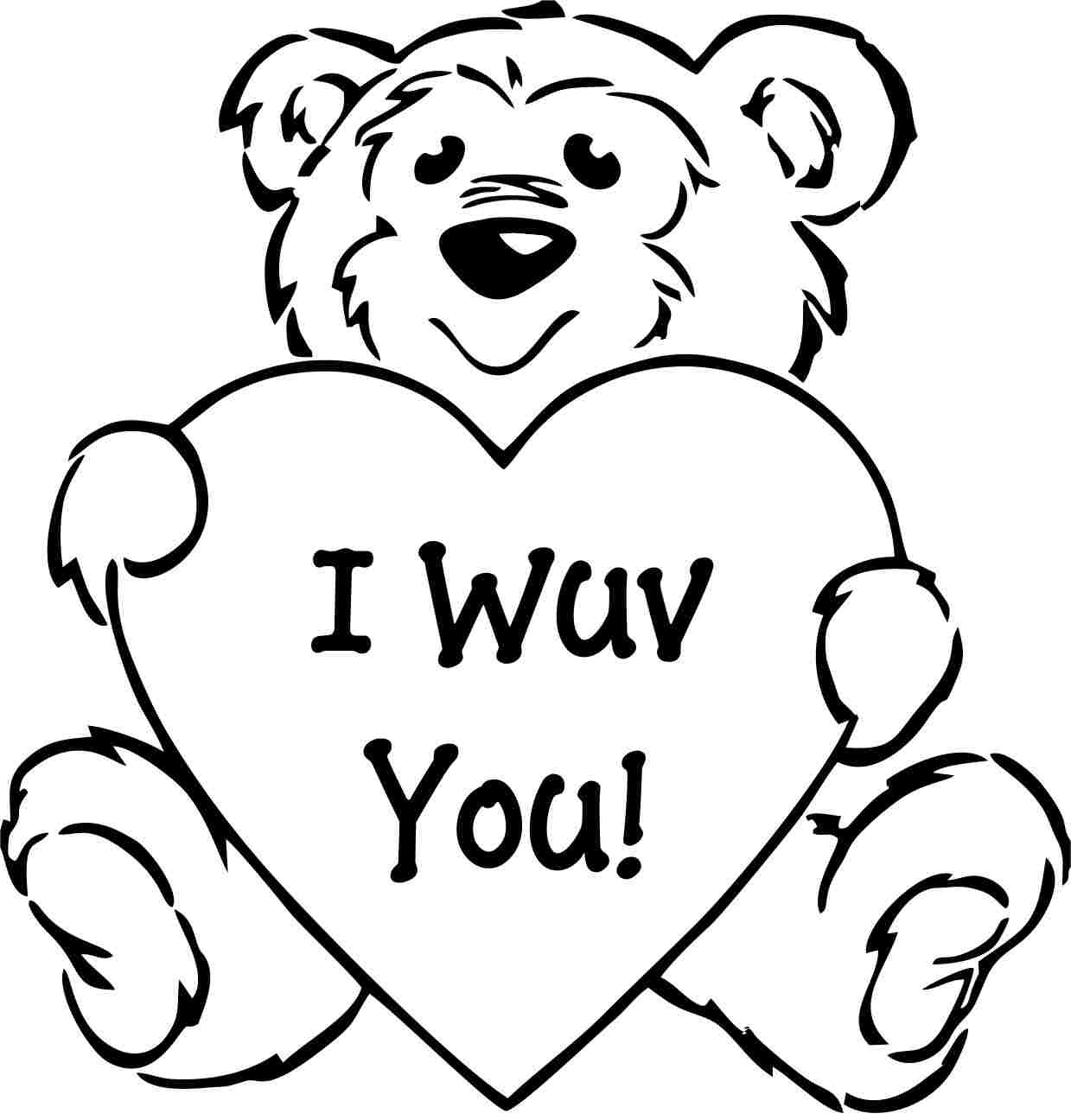 1239x1296 Valentine Bear Coloring Pages