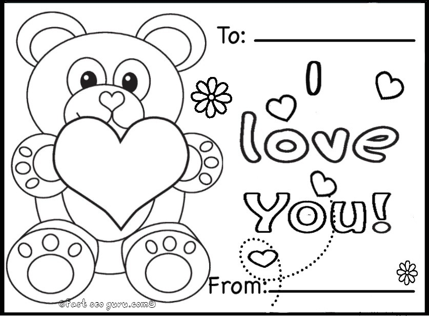837x616 Colour In Valentines Cards Printable Valentines Day Cards Teddy