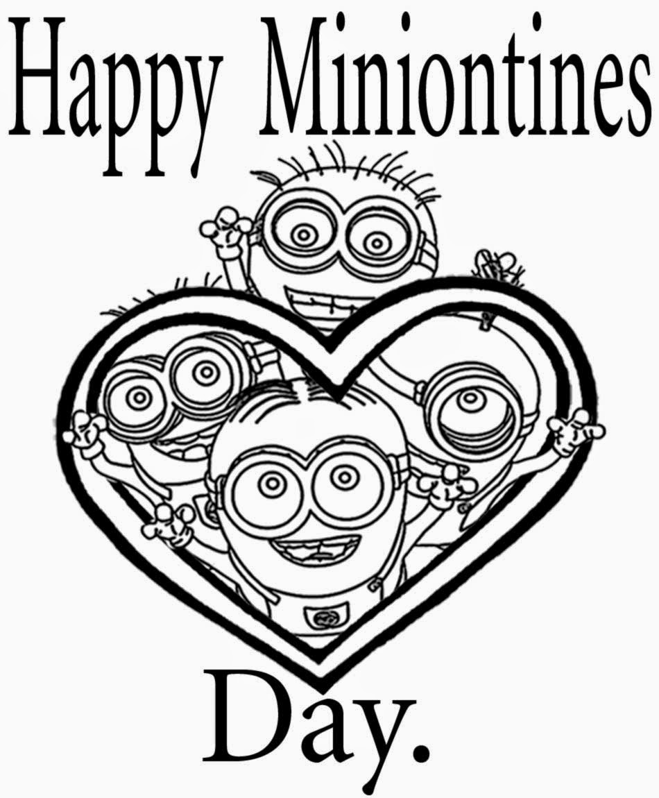 950x1150 Happy Minnionties Day Free Coloring Page Kids, Love, Valentines